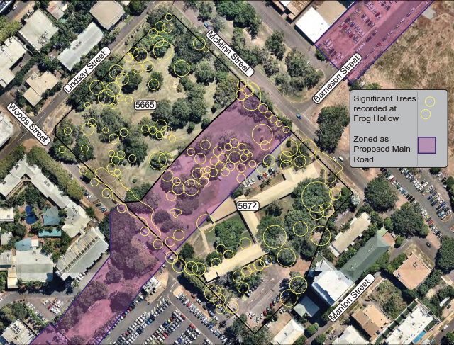 Image of Frog Hollow showing listed Significant Trees (image from Nearmap 2017)