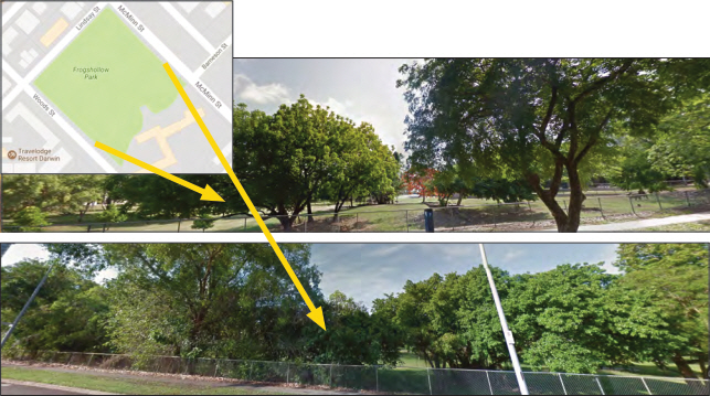 Images of Frog Hollow from either end of Proposed Main Road (Google Maps 2016)